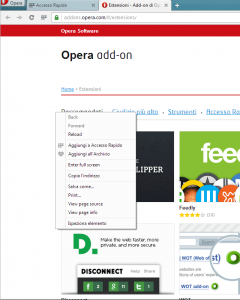 Opera next nuovo menu contestuale