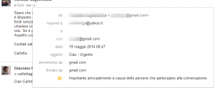 mittente email scippato gmail